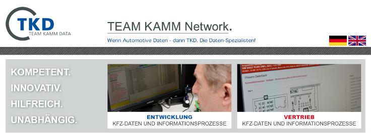TEAM KAMM Network · Entwicklung Kfz-Daten, Informationsprozesse · Tel 0711 21321765 · 73773 Aichwald